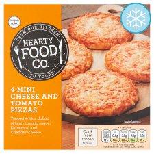 Hearty Food Co. Mini Pizzas Cheese And Tomato 4 Pack 356G