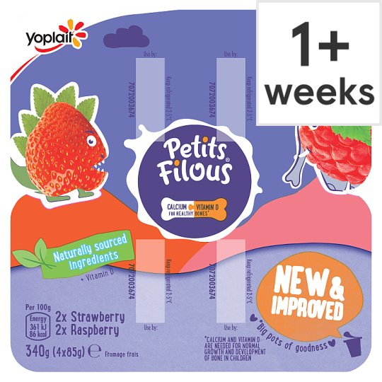 Petits Filous Strawberry & Raspberry Fromage Frais 4X85g
