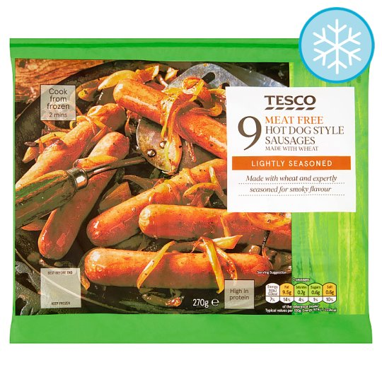 Tesco Meat Free Hot Dog Style Sausages 9 Pack 270G