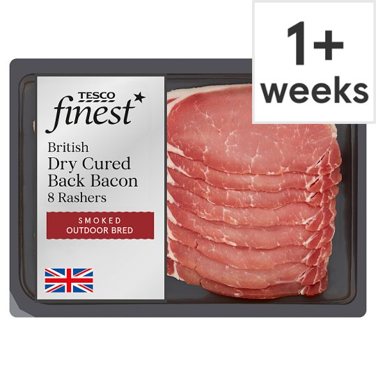 Tesco Finest Smoked Dry Cure Back Bacon 8 Rashers 240G