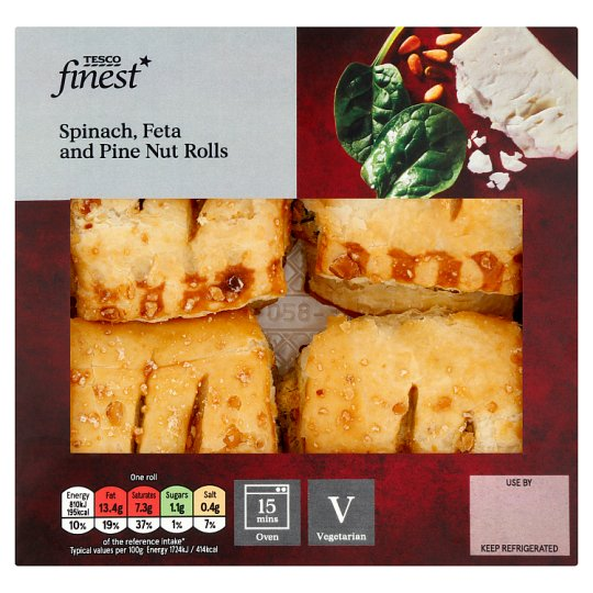 Tesco Finest Spinach, Feta And Pine Nut Rolls 188G