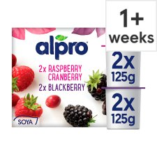 Alpro Raspberry Cranberry Yogurt Alternative 4 X125g