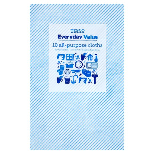 Tesco Everyday Value All Purpose Cloths 10 Pack