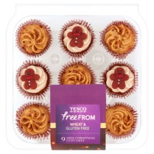 Tesco Free From 9 Mini Christmas Cupcakes 165G