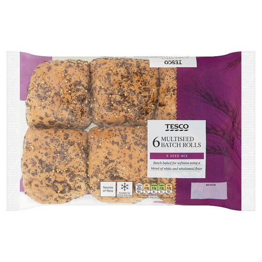 Tesco Multiseed Batch Rolls 6 Pack