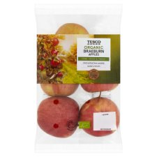 Tesco Organic Braeburn Apples 630G