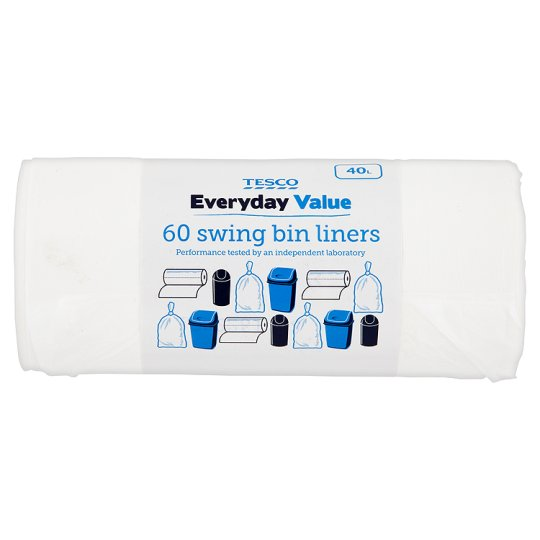 Tesco Everyday Value Swing Bin Liners 60 Pack (40L)