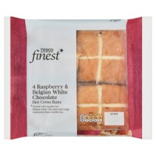 Tesco Finest 4 Pack Raspberry White Chocolate Hot Cross Buns