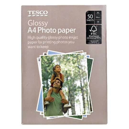 Tesco A4 Glossy Photo Paper 50 Sheets