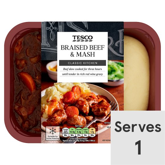 Tesco Braised Beef And Mash 450G