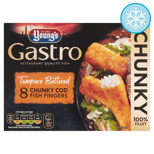 Youngs Gastro 8 Tempura Battered Cod Fingers 320G