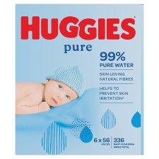 Huggies Pure Baby Wipes Fragrance Free 6 Packs 6X56 Wipes