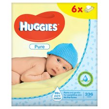 image 2 of Huggies Pure Baby Wipes Fragrance Free 6 Packs 6X56 Wipes