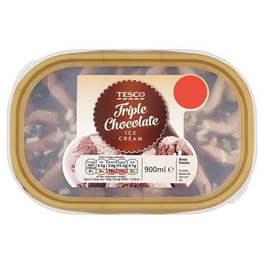 Tesco Triple Chocolate Ice Cream 900Ml