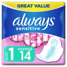 Always Sensitive Normal Size 1 Sanitary Towels With Wings 14 Pack