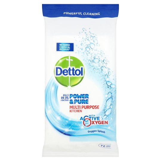 Dettol Power And Pure Kitchen Wipes 72'S