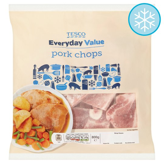Tesco Everyday Value Pork Chops 800G