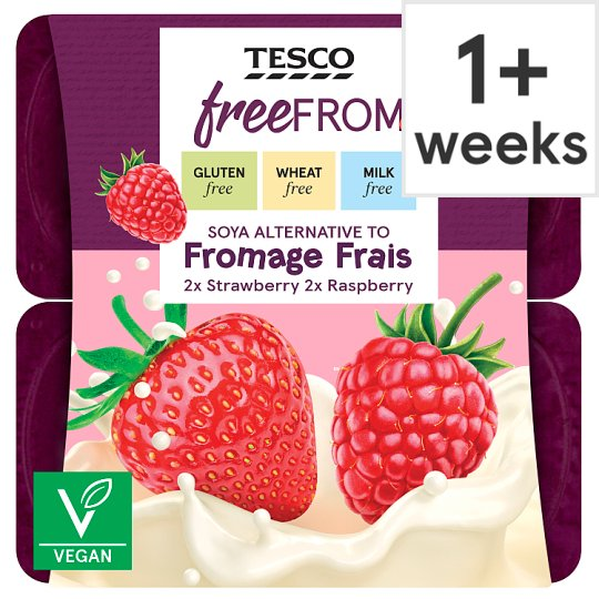 Free From Raspberry And Strawberry Soya Alternative To Fromage Frais 4X90g