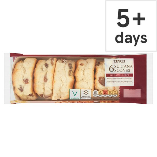 Tesco Sultana Scones 6 Pack