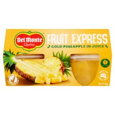 Del Monte Fruit Express Gold Pineapple In Juice 4X113g