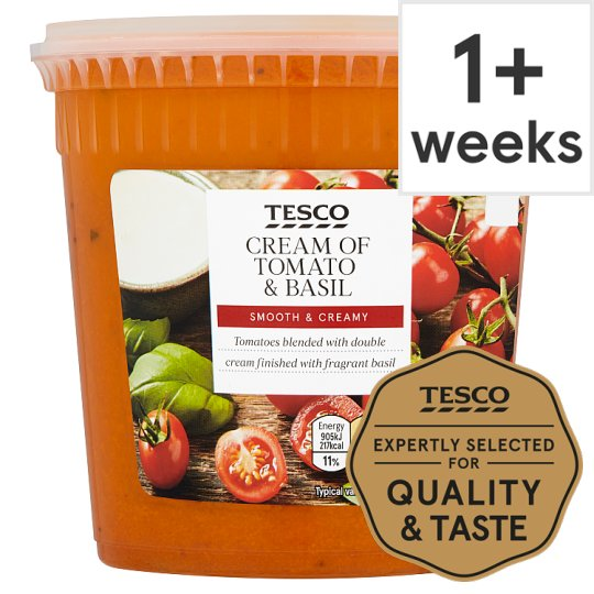 Tesco Tomato And Basil Soup With Double Cream 600G