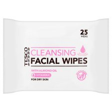 Tesco Cleansing Facial Wipes Dry Skin 25Pack