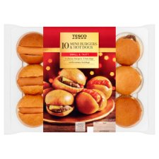 Tesco 10 Mini Hot Dogs And Cheese Burgers 240G
