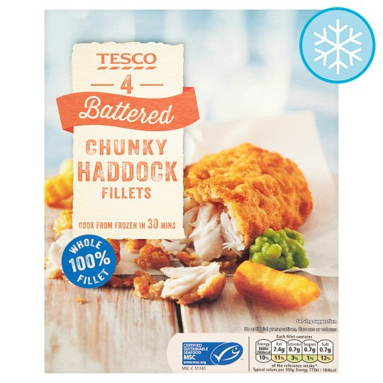 Tesco 4 Battered Chunky Prime Haddock Fillets 500G