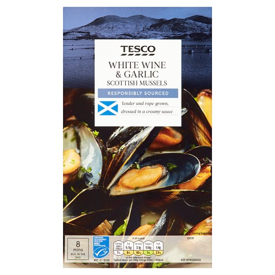 Tesco Mussels In White Wine And Garlic 500G