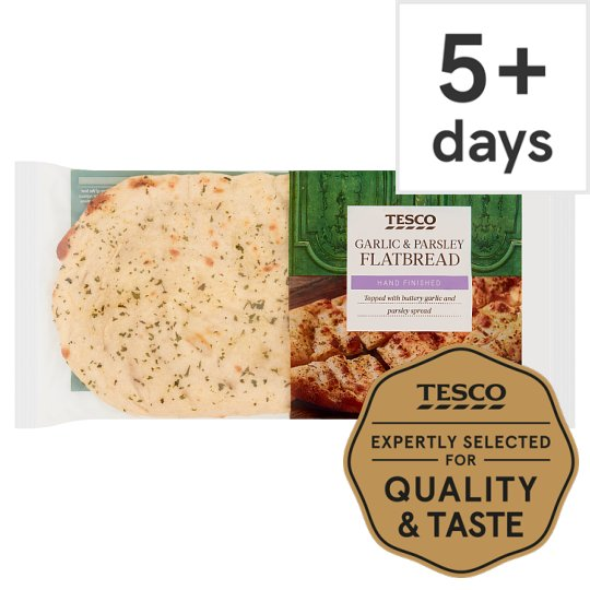 Tesco Garlic And Parsley Flat Bread Each 210G