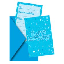 Tesco Blue Happy Birthday Invite 8Pk