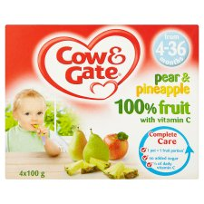 Cow And Gate 4 Month+ Pear And Pineapple Fruit Pot 4X100g