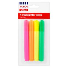 Tesco Highlighters 4 Pack