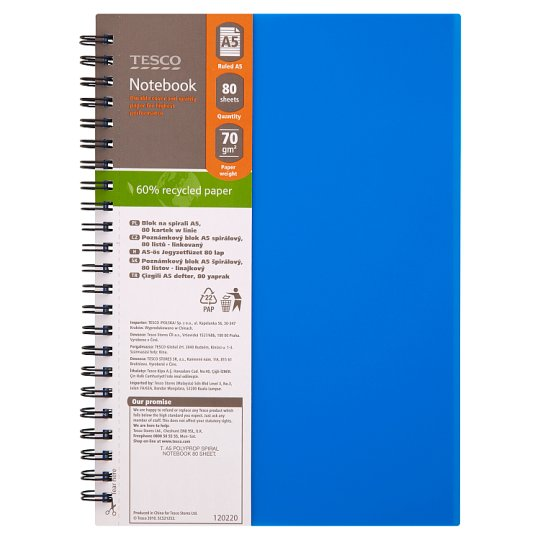 Tesco A5 Polypropylene Spiral Notebook 80 Sheets
