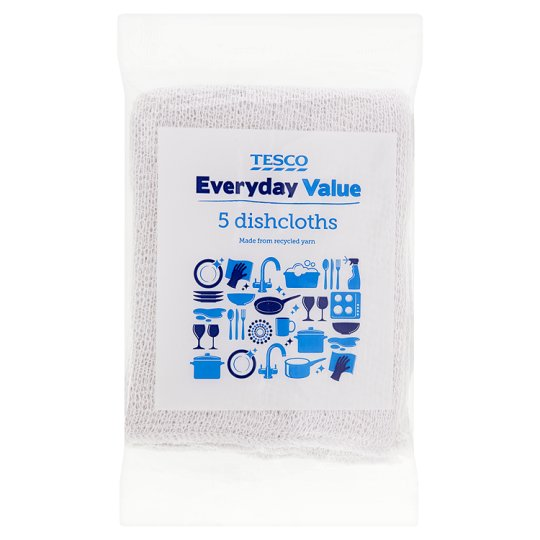 Tesco Everyday Value Dish Cloths 5 Pack