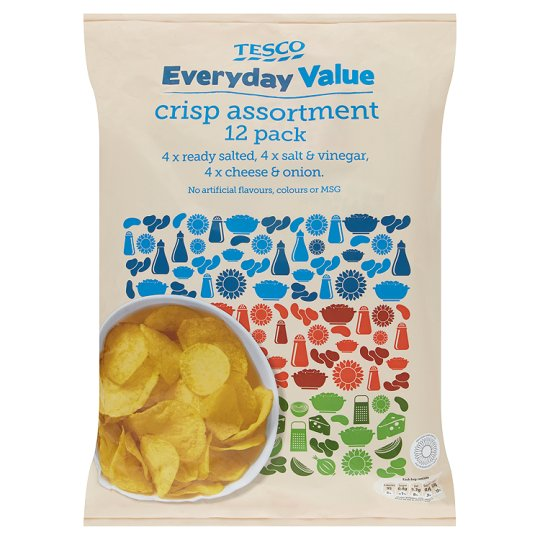 Tesco Everyday Value Variety Crisps 12 X 18 G