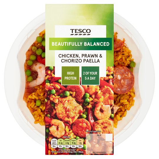 Tesco Chicken Prawn And Chorizo Paella 390G