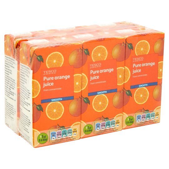 Tesco Pure Orange Juice 6 X 200 Ml