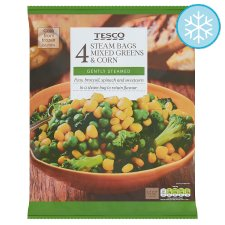 Tesco 4X Steam Bags Mixed Greens And Corn 640G