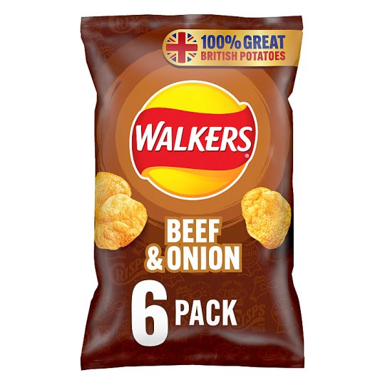 Walkers Beef And Onion Crisps 6 X 25 G