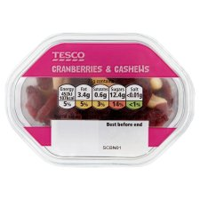 Tesco Cranberries And Cashew Nuts Snack Pack 60G