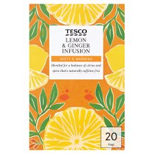 Tesco Lemon And Ginger 20 Tea Bags 40G