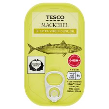 Tesco Skinless Boneless Scottish Mackerel In Olive Oil 125G