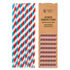 Swantex Red White Blue Paper Straws 80 Pack