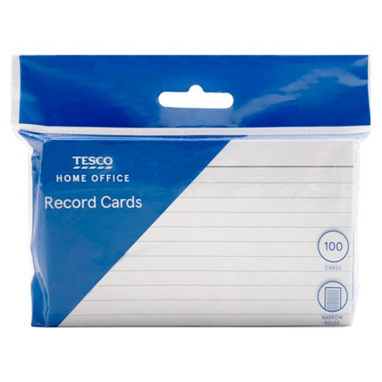 Tesco Record Cards 100 Pack