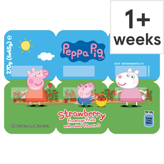 image 1 of Peppa Pig Strawberry Fromage Frais 6 X45g