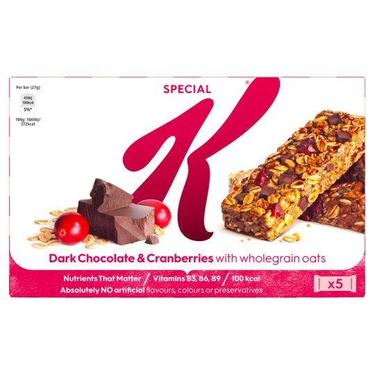 Special K Dark Chocolate And Cranberry Bars 5X27g