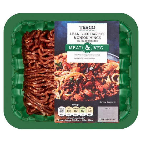 Tesco 5% Beef Mince With Vegetables 250G