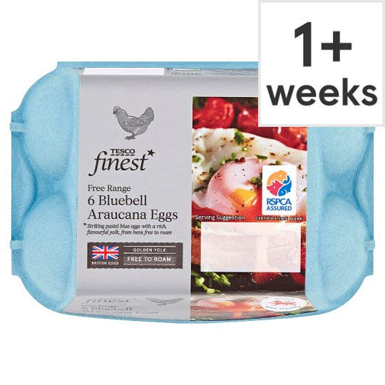 Tesco Finest Mixed Sized Blue Eggs 6 Pack