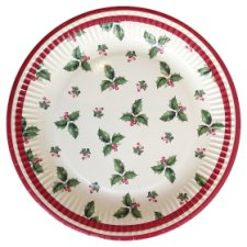 Tesco Holly Christmas Plate 8 Pack